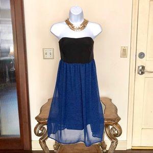 TORRID royal blue & black strapless party dress